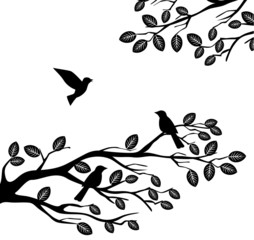 tree wilouette with birds