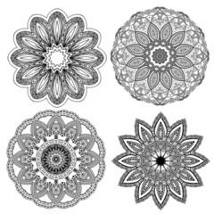Set of floral elements. Lace flowers
