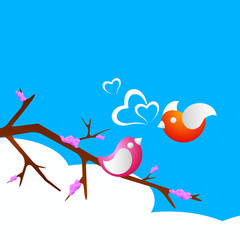 Printed roller blinds Birds in cages Valentine's Day love card or greeting card with cute love birds.