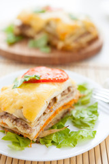 vegetable lasagna on lettuce leaf