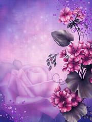 Fioletowe tło z kwiatami geranium