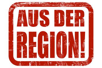 Grunge Stempel rot AUS DER REGION!
