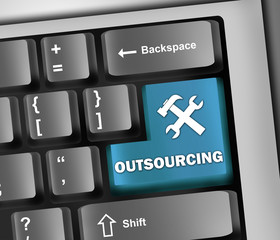 "Keyboard Illustration ""Outsourcing"""