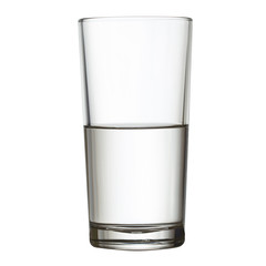 tall half full glass of water isolated on white clipping path in