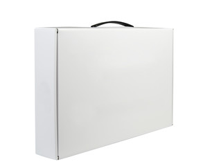 Carton White Blank Package Box With Handle. Briefcase, Case, Fol