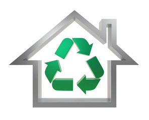 house icon with recycle mark
