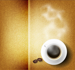 Vector coffee cup against fabric background.