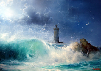 Seascape Wave and lighthouse