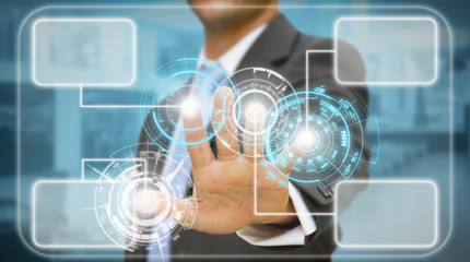 Businessman touching tactile interface