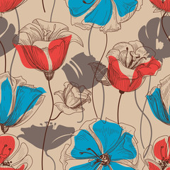 Spoed Fotobehang Abstract bloemen Retro floral seamless pattern vector