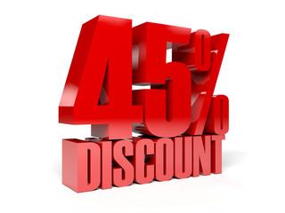 45 percent discount. Concept 3D illustration.