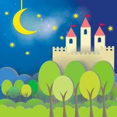 Poster Castle Fantasy Castle cardboard card in midnight background