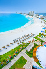 Caribbean Sea, Mexico, Cancun - beaches and hotels  perspective
