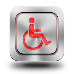 Obraz Wheelchair aluminum glossy icon, button - fototapety do salonu