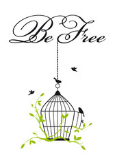 Ingelijste posters Vogels in kooien open birdcage with free birds, vector