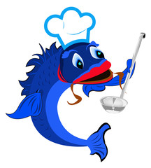 Aluminium Prints Pirates Fresh fish is a chef with a big spoon on a white background
