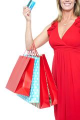 Shopaholic woman, cropped image