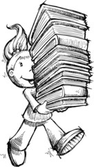 Girl Carrying Books Sketch Vector