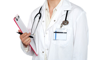 Cropped image of medical expert holding clipboard