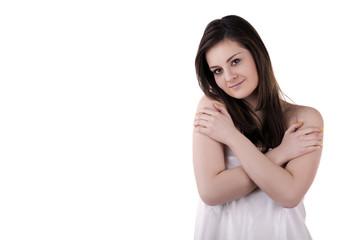 Gorgeous smiling girl isolated on white background