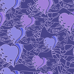 Seamless abstract pattern with lilac hearts