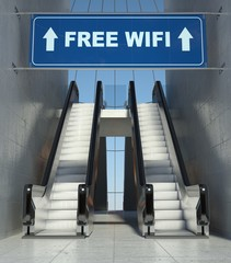 Moving escalator stairs in building, free wifi sign