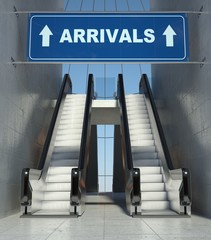 Moving escalator stairs in airport, arrivals sign