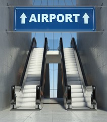 Moving escalator stairs in building, airport sign