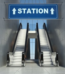 Moving escalator stairs in building, station sign