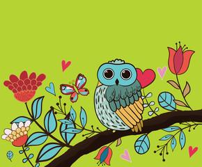 Card flower, owl