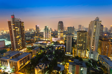 The cityscape view in the night at Sukumvit road,Thailand