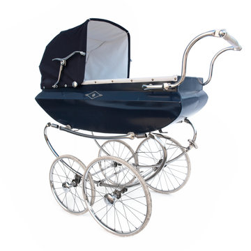Vintage baby carriage isolated