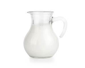 Glass jug of fresh milk isolated on white