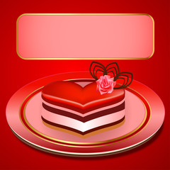 background with a cake in the shape of heart
