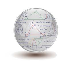 Glaskugel mit Formeln