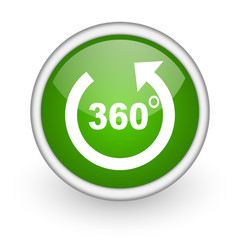 360 degrees panorama green circle glossy web icon
