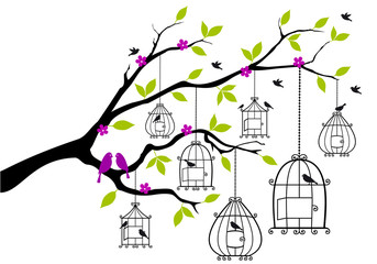 Zelfklevend Fotobehang Vogels in kooien tree with birds and open birdcages, vector