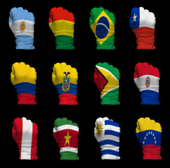 National flag fists of South America