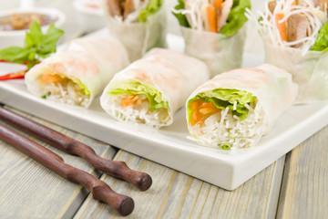 Goi Cuon - Vietnamese fresh spring rolls with pork and prawns