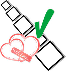 valentine hearts and check list symbol