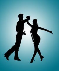 Couple Dancing Rumba Silhouette