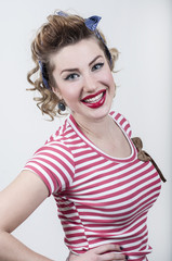 Smiling pin-up girl