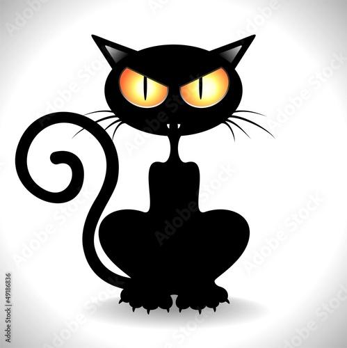 Gatto nero arrabbiato angry black cat clip art vector for Gatto clipart