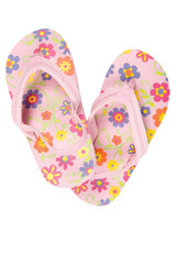 Sandals or flip flops on white. Clipping path included.