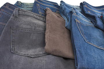 scattered male jeans