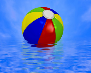 Beach ball on water