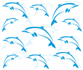 Spoed Fotobehang Dolfijnen Wallpaper images of dolphins - vector
