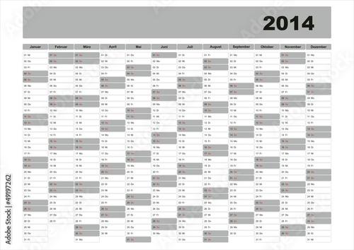 Jahresplaner 2014 Kalendervorlage\