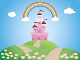 Door stickers Castle castle landscape, cartoon and vector illustration.