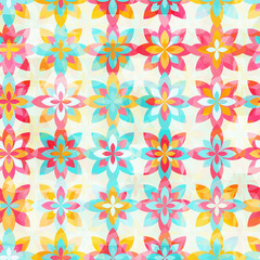 Abstract color flowers seamless pattern